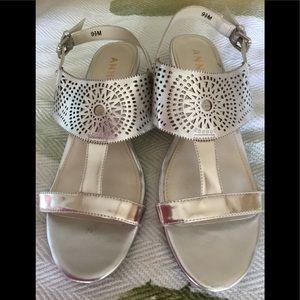 """ANNE KLEIN """"Maddie"""" Silver Sandal 9 1/2"""""""